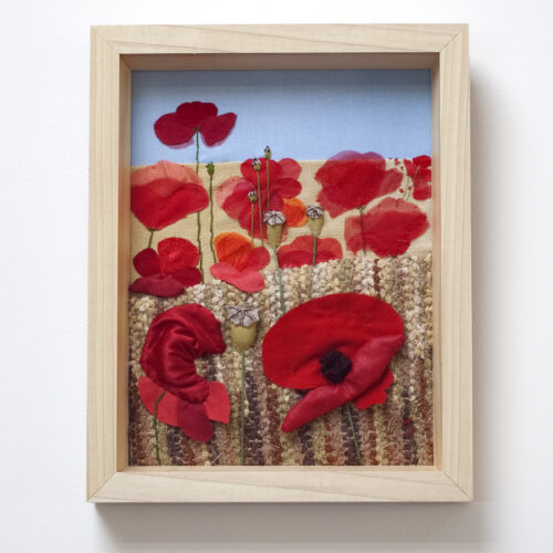 Autumn Poppies Hand Embroidered Textile Art by Jessica Coote