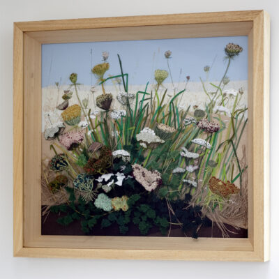 Cow Parsley and Wild Flowers Hand Embroidered Landscape by Jessica Coote