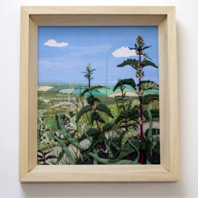 Nettles Embroidered Textile Landscape by Jessica Coote