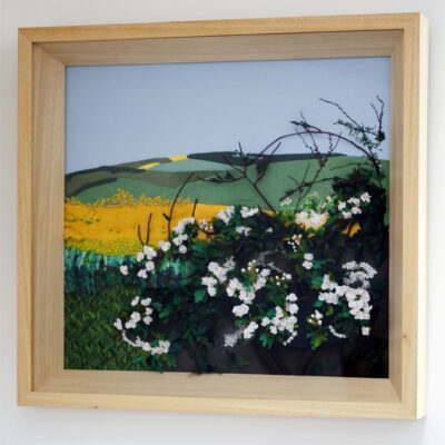 Oil Seed Field Hand Embroidered Textile Landscape by Jessica Coote