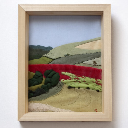 Poppy Landscape East Sussex Hand Embroidery by Jessica Coote