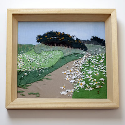 Poppy Pathway Embroidered Textile Landscape by Jessica Coote