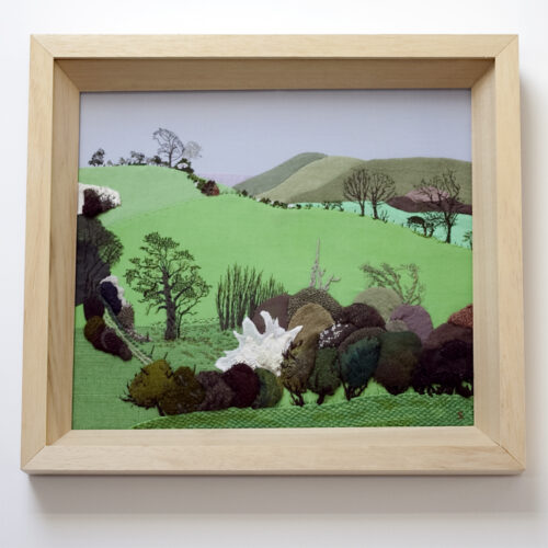 South Downs Hand Embroidered Textile Landscape by Jessica Coote