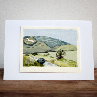 The Littlington Chalk Horse - Original Watercolour Painting by Jessica Coote