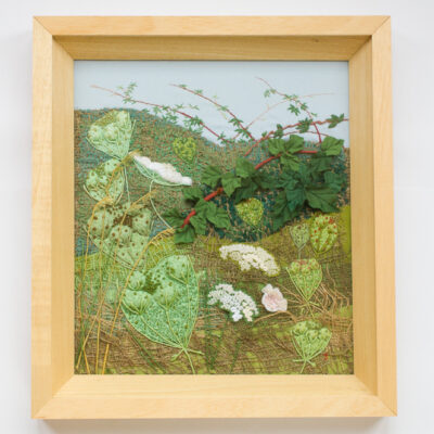 Brambles Headgerow – Hand Embroidered Landscape by Jessica Coote